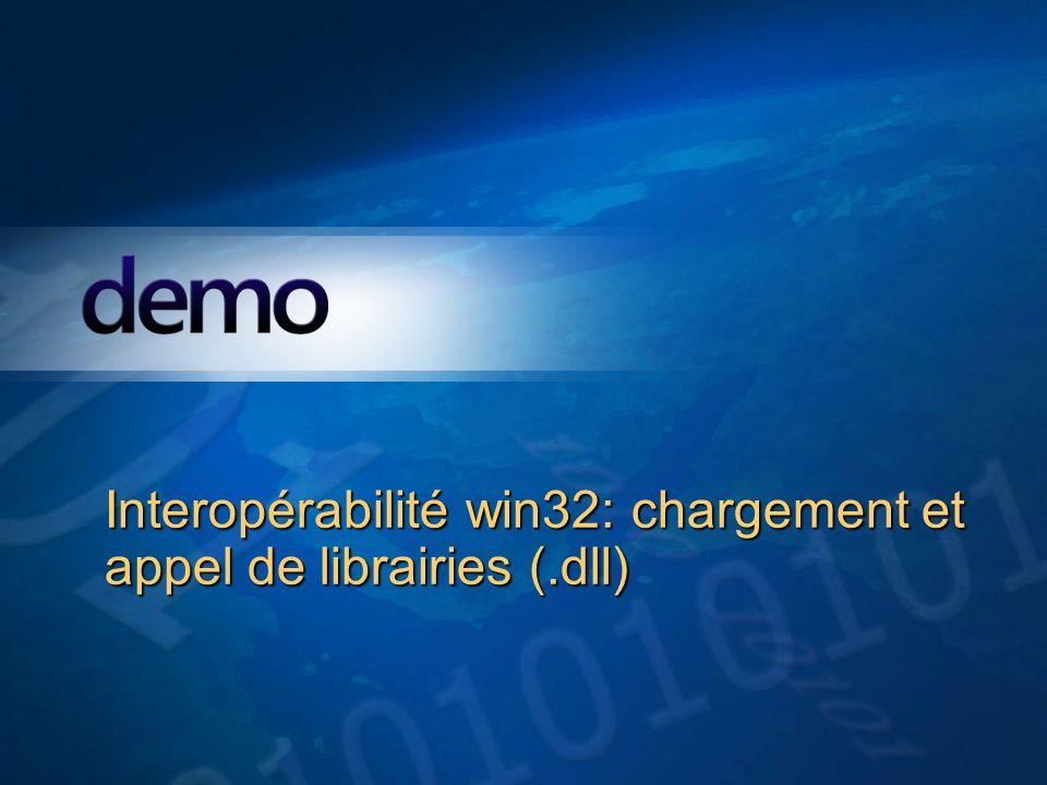 Démo Interopérabilité win32: chargement et appel de librairies (.dll)
