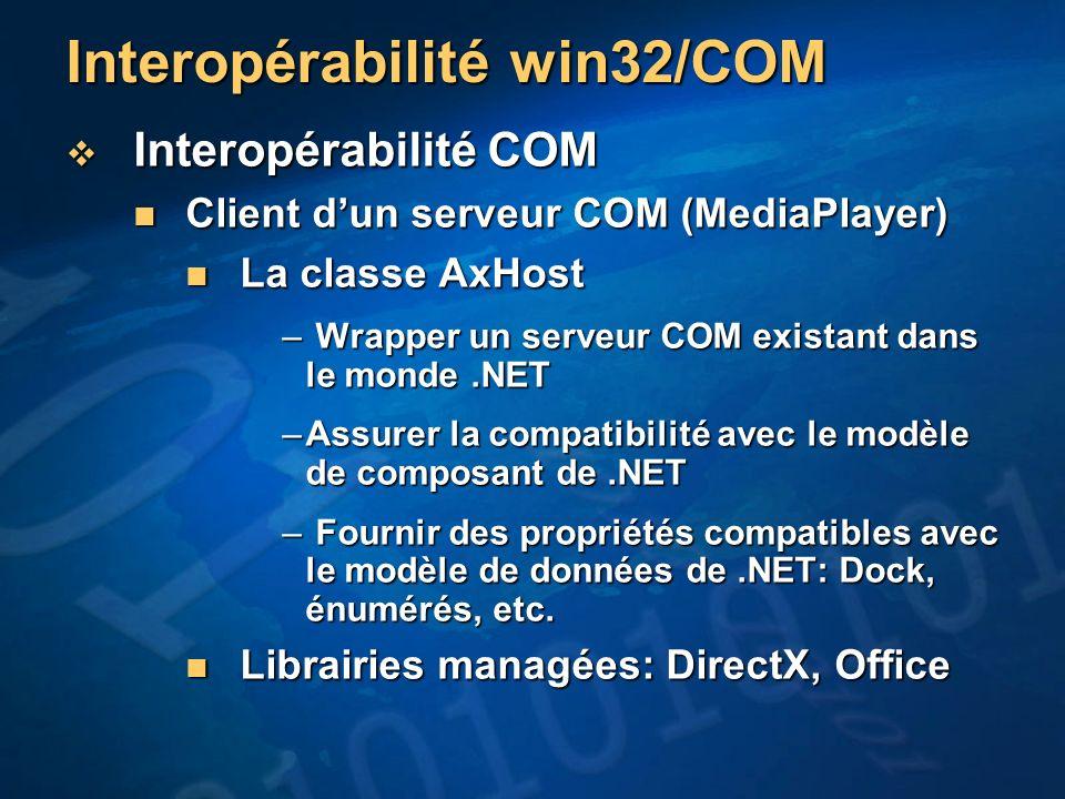 Interopérabilité win32/COM Interopérabilité COM Interopérabilité COM Client dun serveur COM (MediaPlayer) Client dun serveur COM (MediaPlayer) La clas