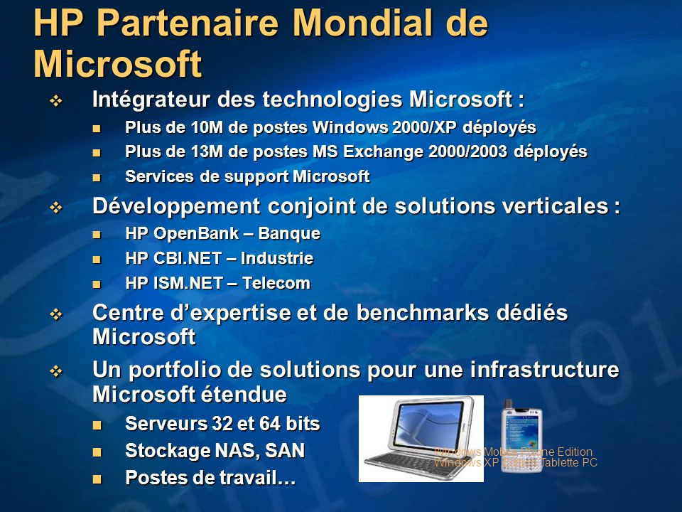 HP Partenaire Mondial de Microsoft Intégrateur des technologies Microsoft : Intégrateur des technologies Microsoft : Plus de 10M de postes Windows 200