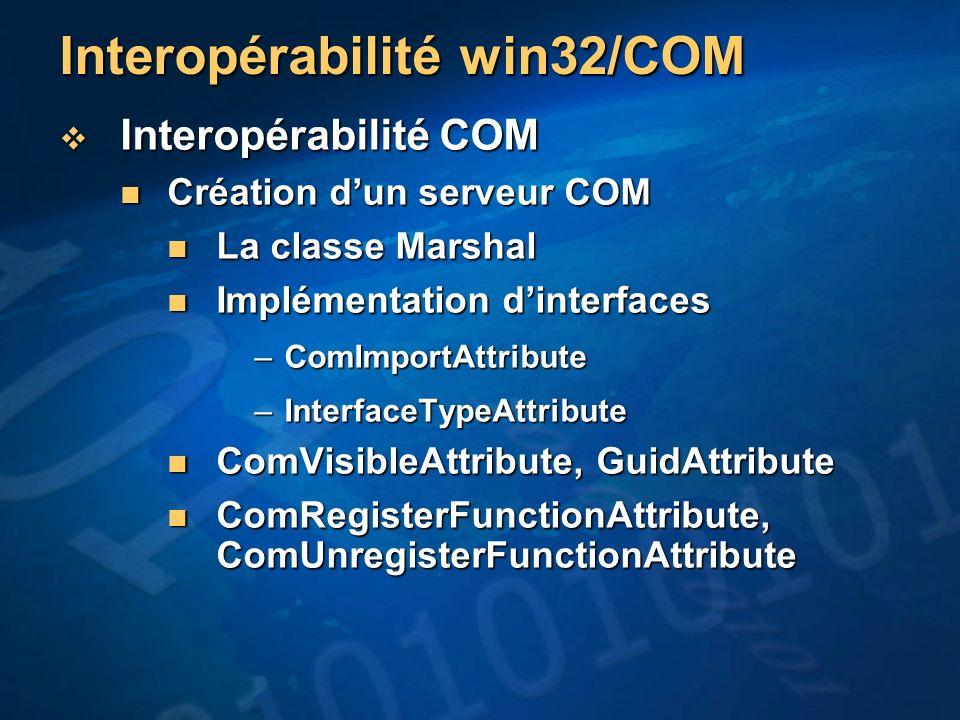 Interopérabilité win32/COM Interopérabilité COM Interopérabilité COM Création dun serveur COM Création dun serveur COM La classe Marshal La classe Mar