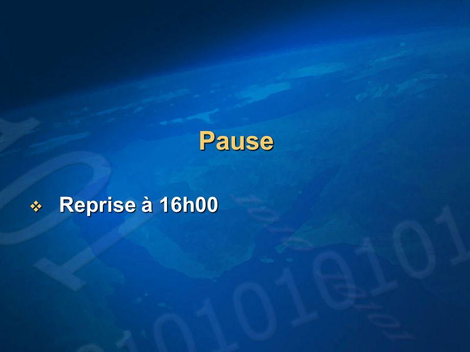 Pause Reprise à 16h00 Reprise à 16h00