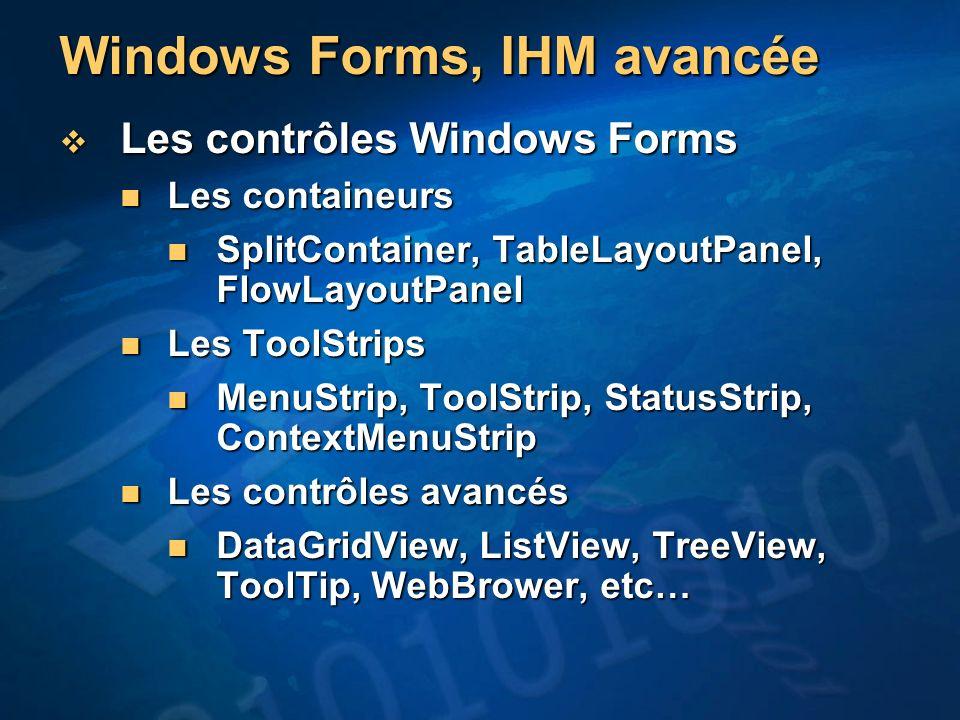 Windows Forms, IHM avancée Les contrôles Windows Forms Les contrôles Windows Forms Les containeurs Les containeurs SplitContainer, TableLayoutPanel, F