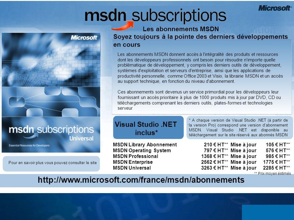 Les abonnements MSDN Soyez toujours à la pointe des derniers développements en cours Les abonnements MSDN donnent accès à l'intégralité des produits e