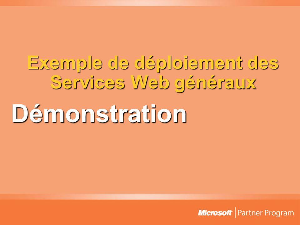 Exemple de déploiement des Services Web généraux Démonstration