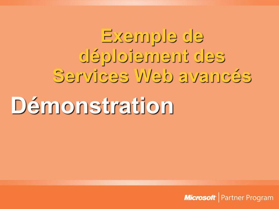 Exemple de déploiement des Services Web avancés Démonstration