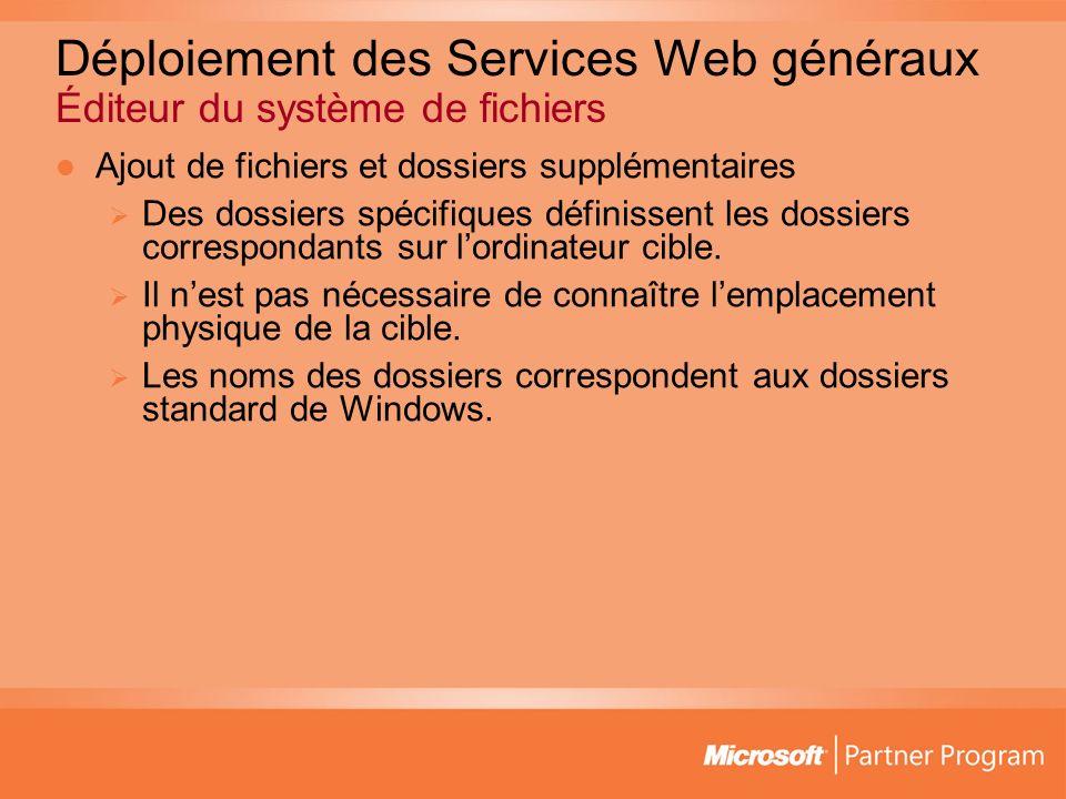 Déploiement des Services Web généraux Éditeur du système de fichiers Ajout de fichiers et dossiers supplémentaires Des dossiers spécifiques définissent les dossiers correspondants sur lordinateur cible.