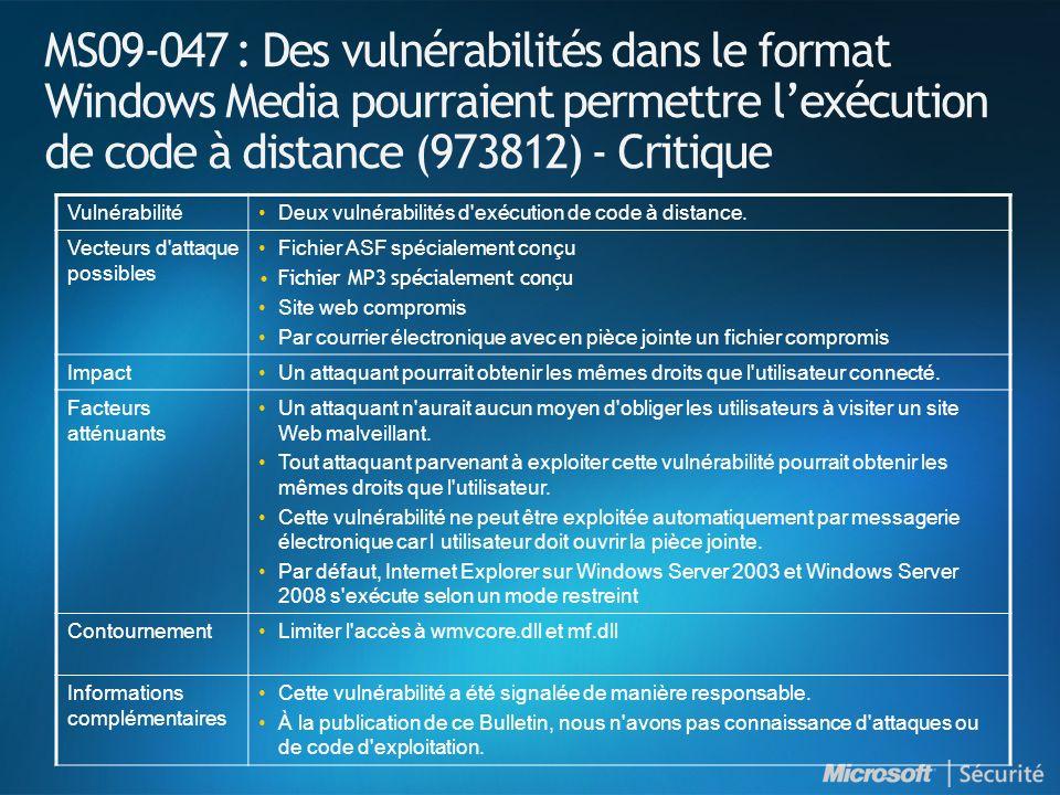 MS09-047 : Des vulnérabilités dans le format Windows Media pourraient permettre lexécution de code à distance (973812) - Critique VulnérabilitéDeux vulnérabilités d exécution de code à distance.