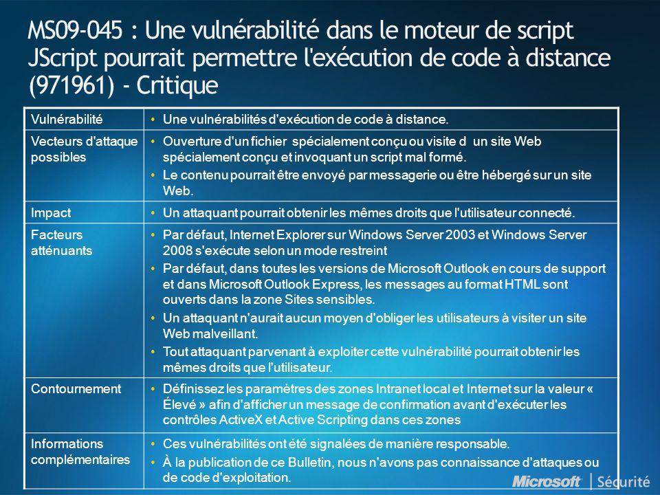 MS09-046 : Introduction et indices de gravité NuméroTitre Indice de gravité maximal Produits affectés MS09-046 Une vulnérabilité dans le contrôle ActiveX du composant d édition DHTML pourrait permettre l exécution de code à distance (956844) Critique Windows 2000 (All Supported Versions)Windows 2000 (All Supported Versions) Windows XP (All Supported Versions)Windows XP (All Supported Versions) Windows Server 2003 (All Supported Versions)Windows Server 2003 (All Supported Versions)