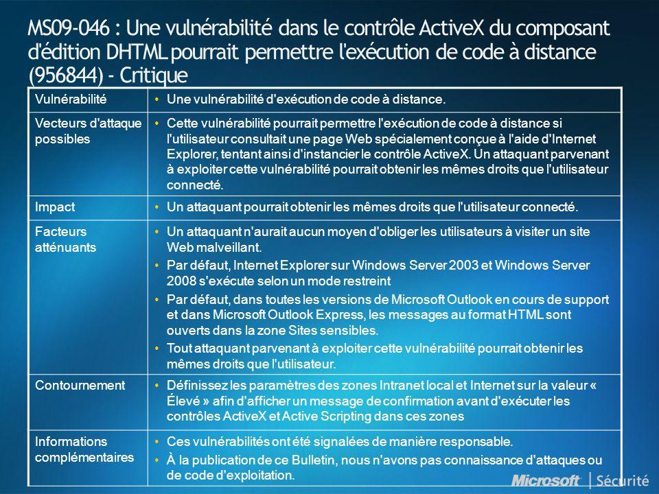 MS09-046 : Une vulnérabilité dans le contrôle ActiveX du composant d édition DHTML pourrait permettre l exécution de code à distance (956844) - Critique VulnérabilitéUne vulnérabilité d exécution de code à distance.