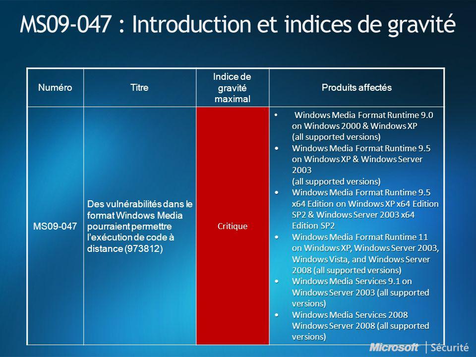 Windows Malicious Software Removal Tool Ajoute la possibilité de supprimer : Win32/Bredolab Win32/Daurso Disponible en tant que mise à jour prioritaire sous Windows Update et Microsoft Update Disponible par WSUS 3.0 Disponible en téléchargement à l adresse suivante : http://www.microsoft.com/france/securite/malwareremove http://www.microsoft.com/france/securite/malwareremove