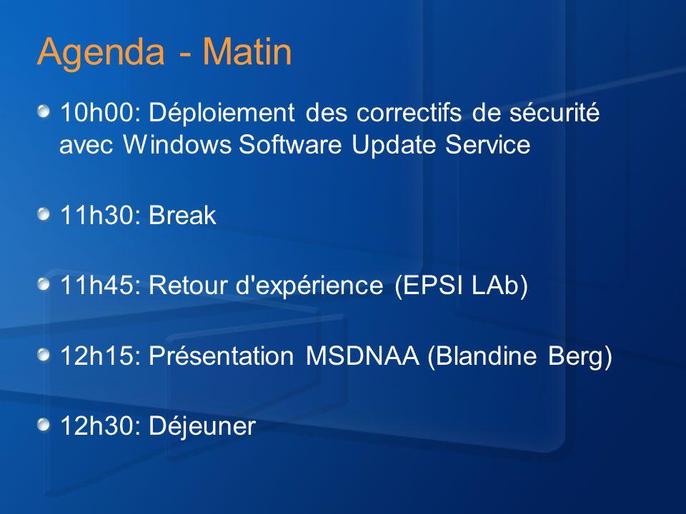 Agenda – Après-Midi 13h30: Présentation du Shared Computer toolkit (Denis Arditti) 14h45: Break 15h15: Déploiement d images avec SMS et l OS Deployment Feature Pack (Fabrice Meillon) 17h: Fin