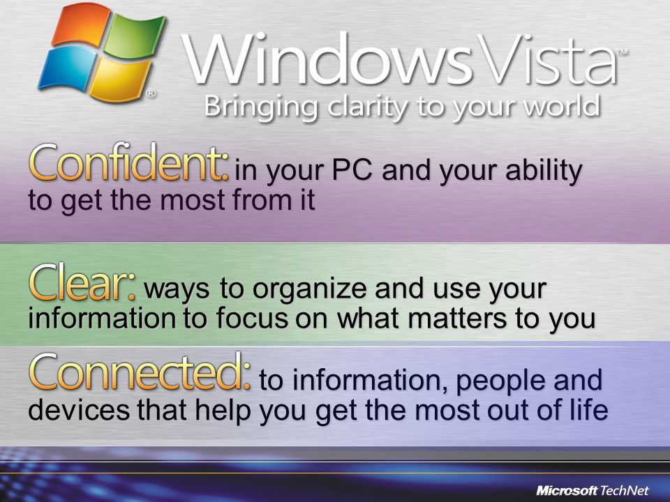 to information, people and devices that help you get the most out of life to information, people and devices that help you get the most out of life in your PC and your ability to get the most from it in your PC and your ability to get the most from it ways to organize and use your information to focus on what matters to you ways to organize and use your information to focus on what matters to you
