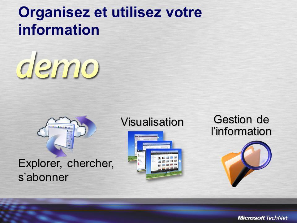 Organisez et utilisez votre information Explorer, chercher, sabonner Gestion de linformation Visualisation