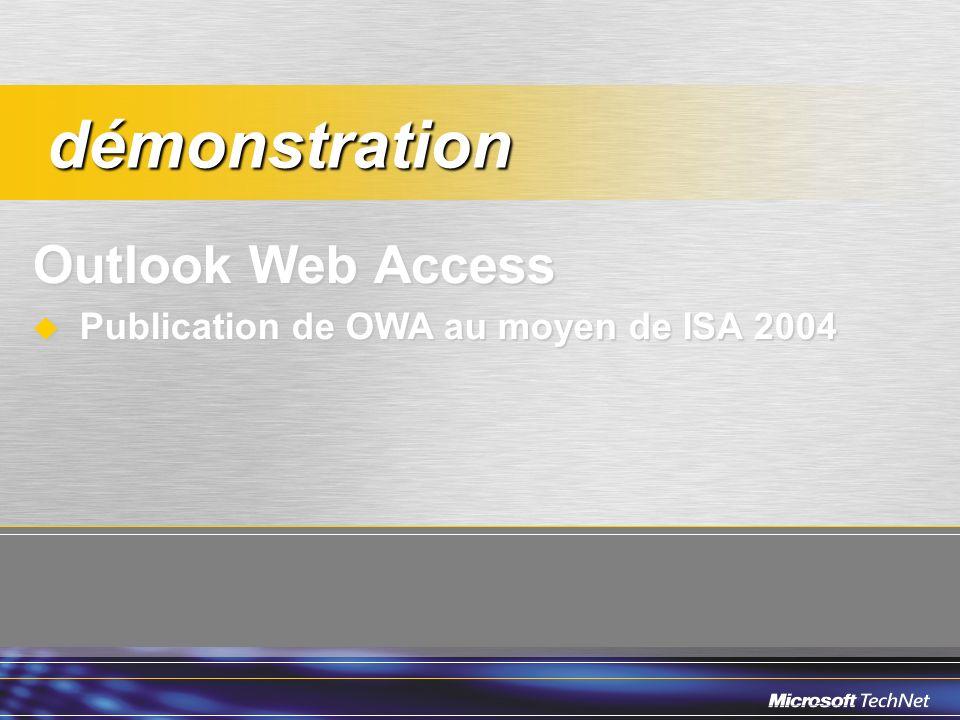 Outlook Web Access Publication de OWA au moyen de ISA 2004 Publication de OWA au moyen de ISA 2004 démonstration démonstration