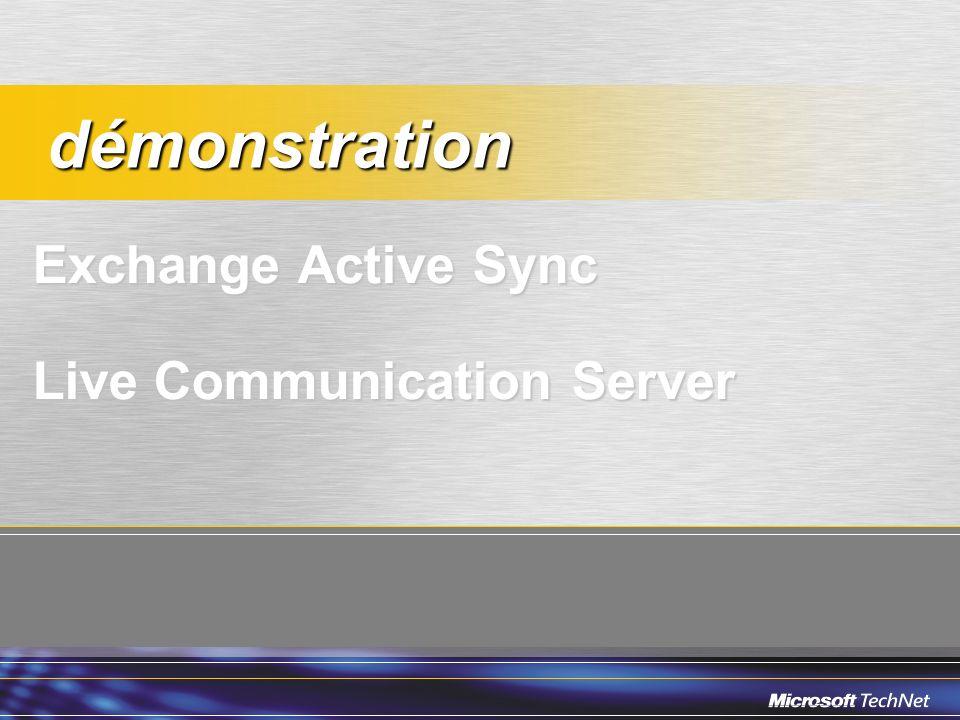 Exchange Active Sync Live Communication Server démonstration démonstration