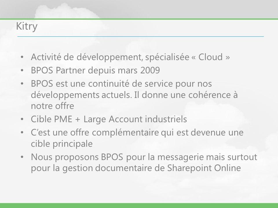 Kitry Activité de développement, spécialisée « Cloud » BPOS Partner depuis mars 2009 BPOS est une continuité de service pour nos développements actuel