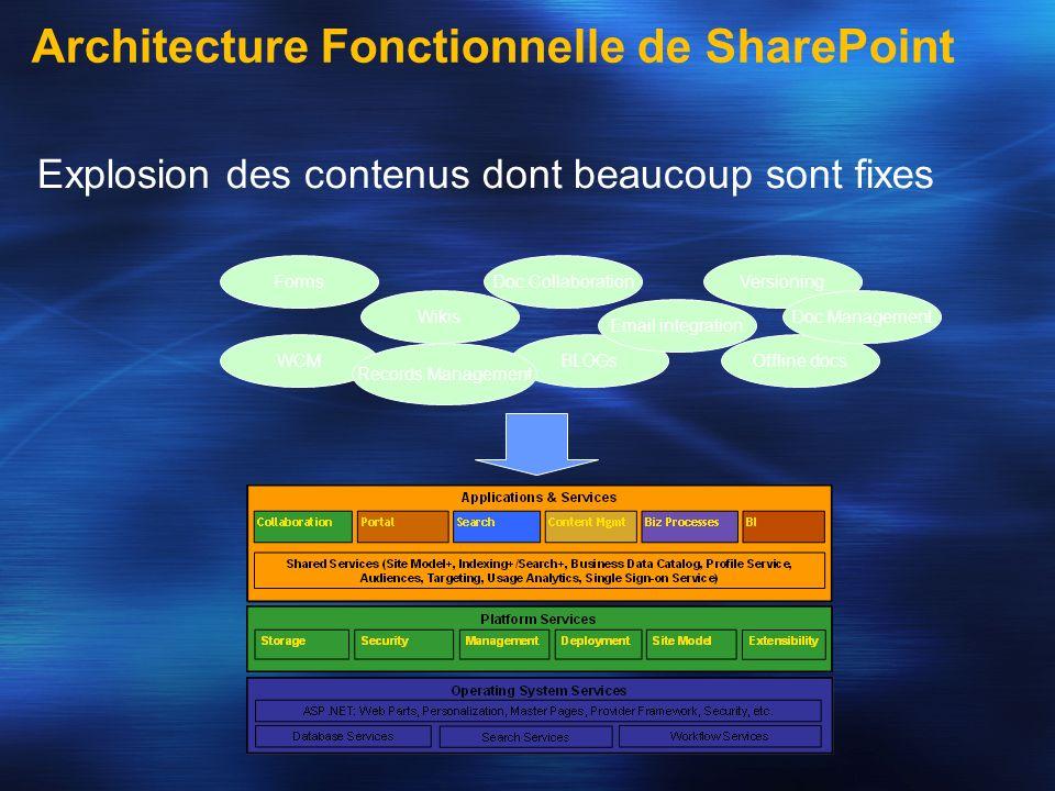 Architecture Fonctionnelle de SharePoint Explosion des contenus dont beaucoup sont fixes Wikis BLOGsOffline docsWCM FormsVersioning Email integration