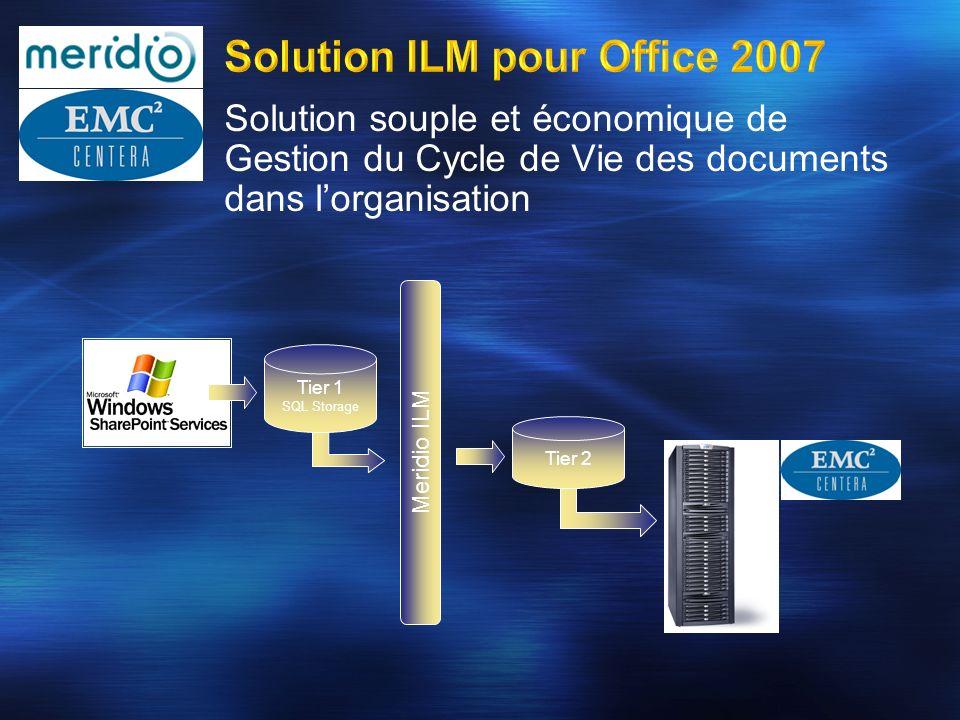 Solution souple et économique de Gestion du Cycle de Vie des documents dans lorganisation Meridio ILM Tier 1 SQL Storage Tier 2