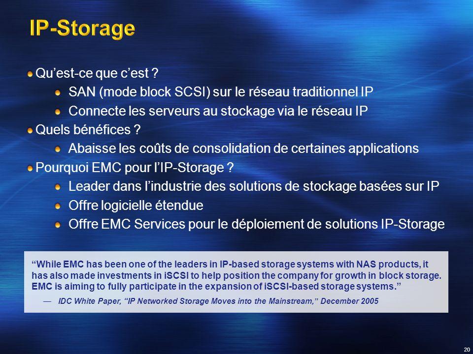 Quest-ce que cest ? SAN (mode block SCSI) sur le réseau traditionnel IP Connecte les serveurs au stockage via le réseau IP Quels bénéfices ? Abaisse l