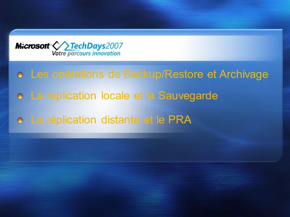 Agenda Les opérations de Backup/Restore et Archivage La réplication locale et la Sauvegarde La réplication distante et le PRA