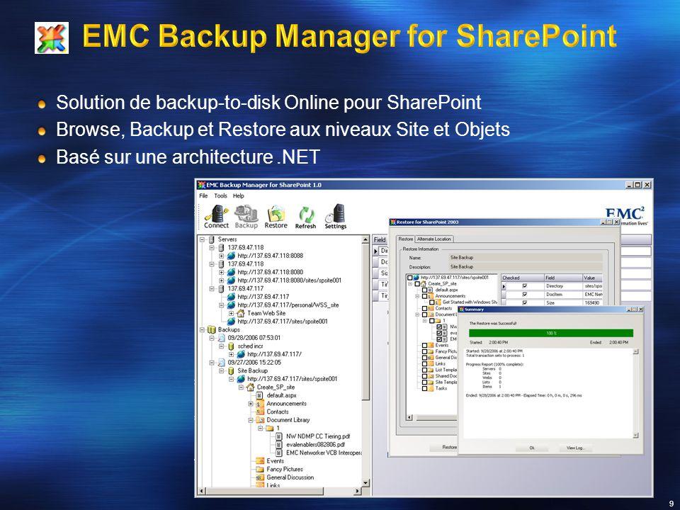 Solution de backup-to-disk Online pour SharePoint Browse, Backup et Restore aux niveaux Site et Objets Basé sur une architecture.NET 9