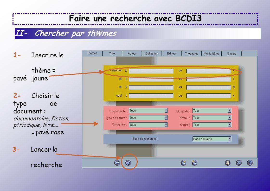 Faire une recherche avec BCDI3 II- Chercher par th mes 1- Inscrire le thème = pavé jaune 2- Choisir le type de document : documentaire, fiction, p rio