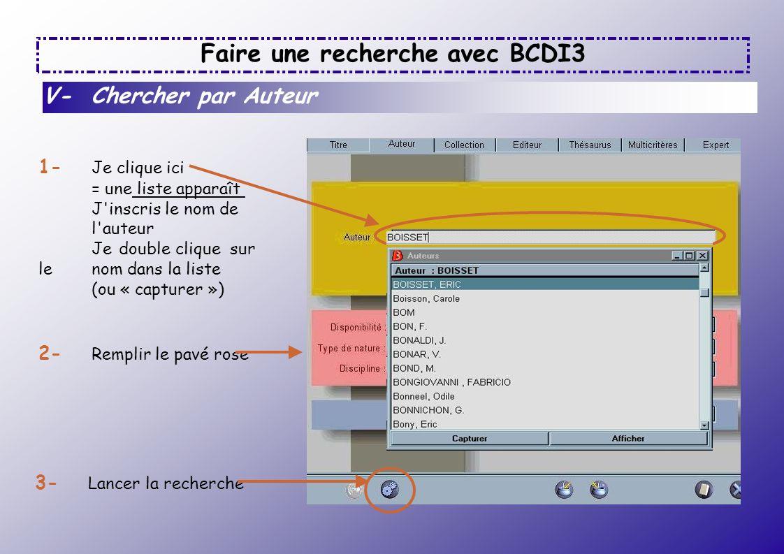 Faire une recherche avec BCDI3 V- Chercher par Auteur 1- Je clique ici = une liste apparaît J'inscris le nom de l'auteur Je double clique sur le nom d