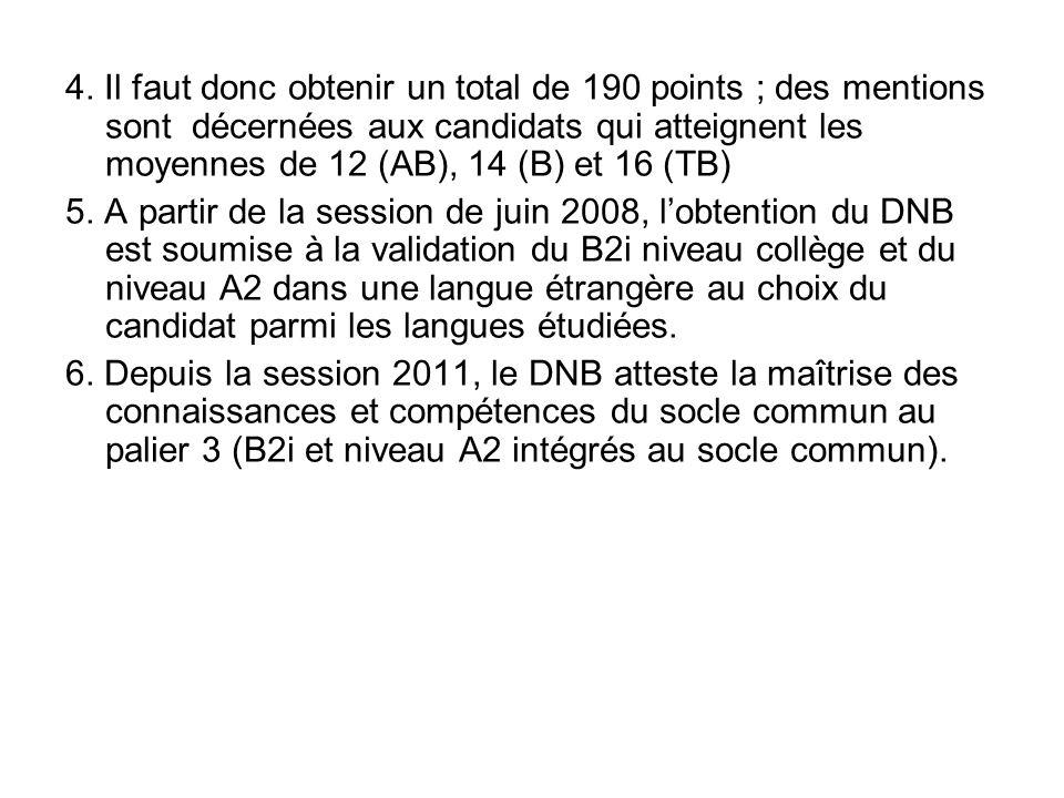 4. Il faut donc obtenir un total de 190 points ; des mentions sont décernées aux candidats qui atteignent les moyennes de 12 (AB), 14 (B) et 16 (TB) 5