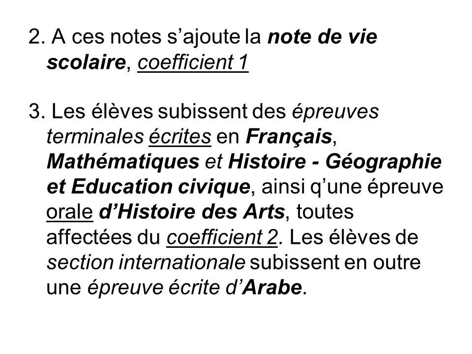 2. A ces notes sajoute la note de vie scolaire, coefficient 1 3. Les élèves subissent des épreuves terminales écrites en Français, Mathématiques et Hi
