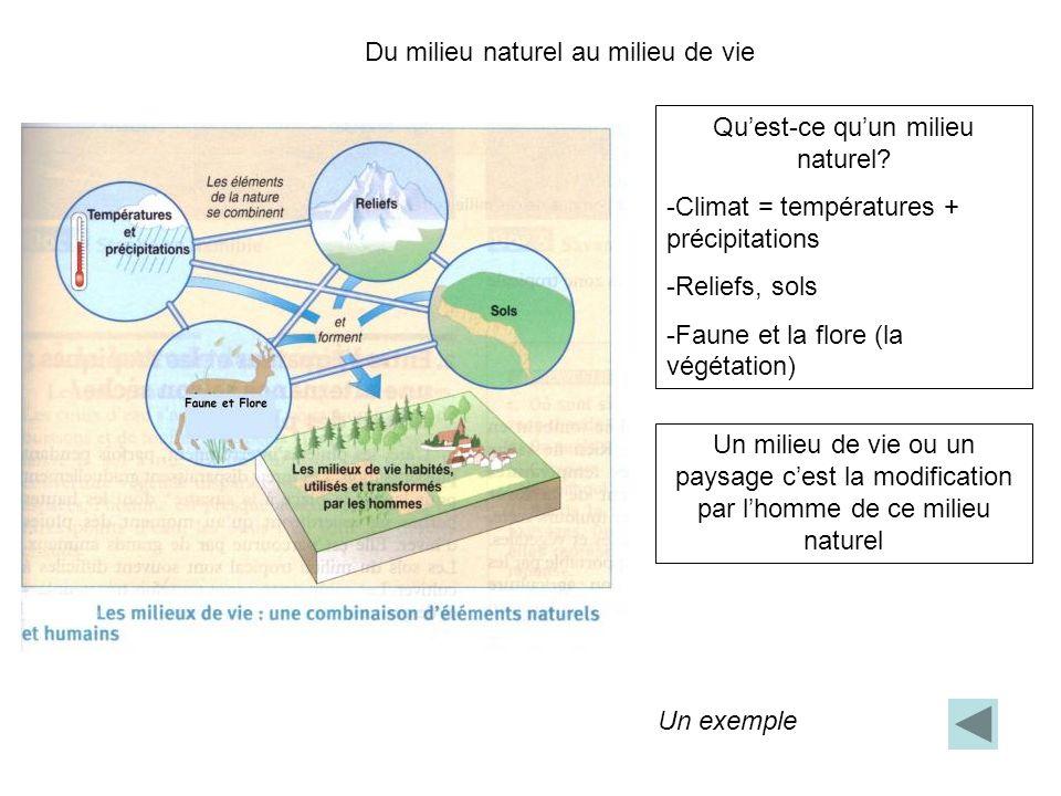 Du milieu naturel au milieu de vie Quest-ce quun milieu naturel? -Climat = températures + précipitations -Reliefs, sols -Faune et la flore (la végétat