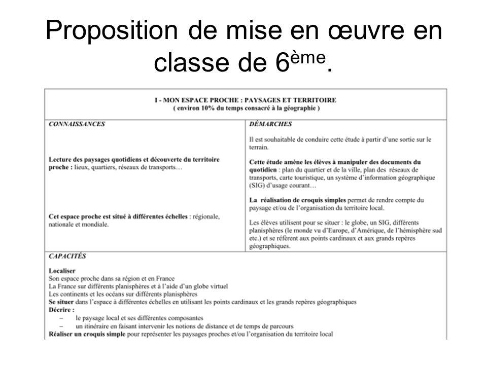 Proposition de mise en œuvre en classe de 6 ème.