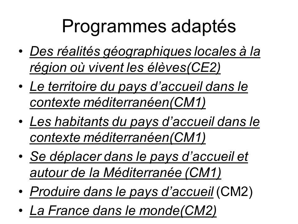 Programmes adaptés Des réalités géographiques locales à la région où vivent les élèves(CE2) Le territoire du pays daccueil dans le contexte méditerran
