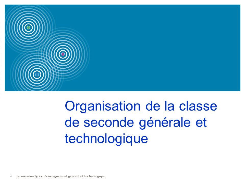 Le nouveau lycée denseignement général et technologique 3 Organisation de la classe de seconde générale et technologique