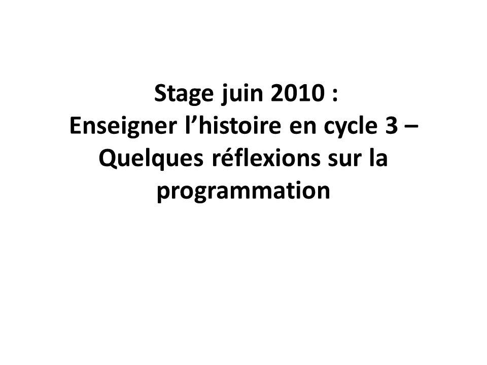 Une nécessité : une programmation de cycle préhistoireantiquitémoyen âge Les temps modernes La révolution Française & le XIX ème siècle Le XX ème s.