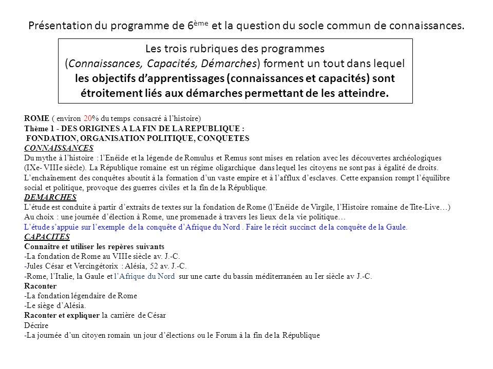 Présentation du programme de 6 ème et la question du socle commun de connaissances. Les trois rubriques des programmes (Connaissances, Capacités, Déma