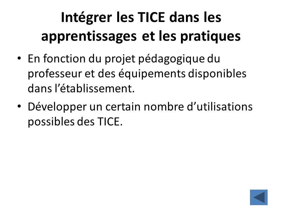 Intégrer les TICE dans les apprentissages et les pratiques En fonction du projet pédagogique du professeur et des équipements disponibles dans létabli