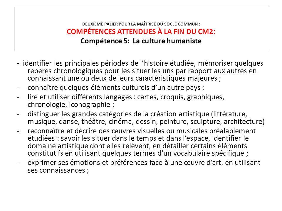 DEUXIÈME PALIER POUR LA MAÎTRISE DU SOCLE COMMUN : COMPÉTENCES ATTENDUES À LA FIN DU CM2: Compétence 5: La culture humaniste - identifier les principa