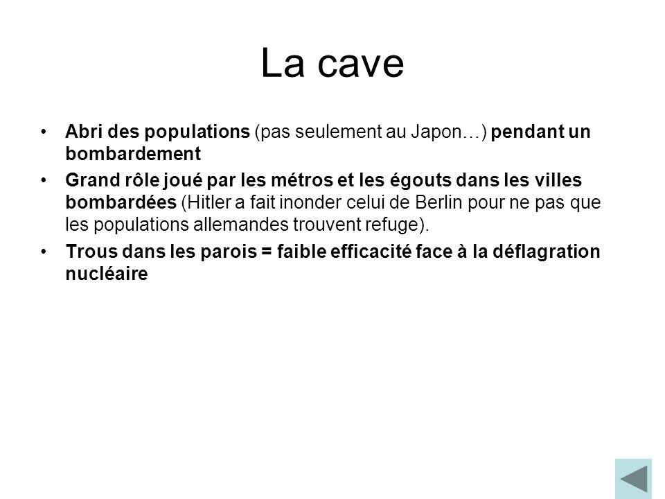 La cave Abri des populations (pas seulement au Japon…) pendant un bombardement Grand rôle joué par les métros et les égouts dans les villes bombardées
