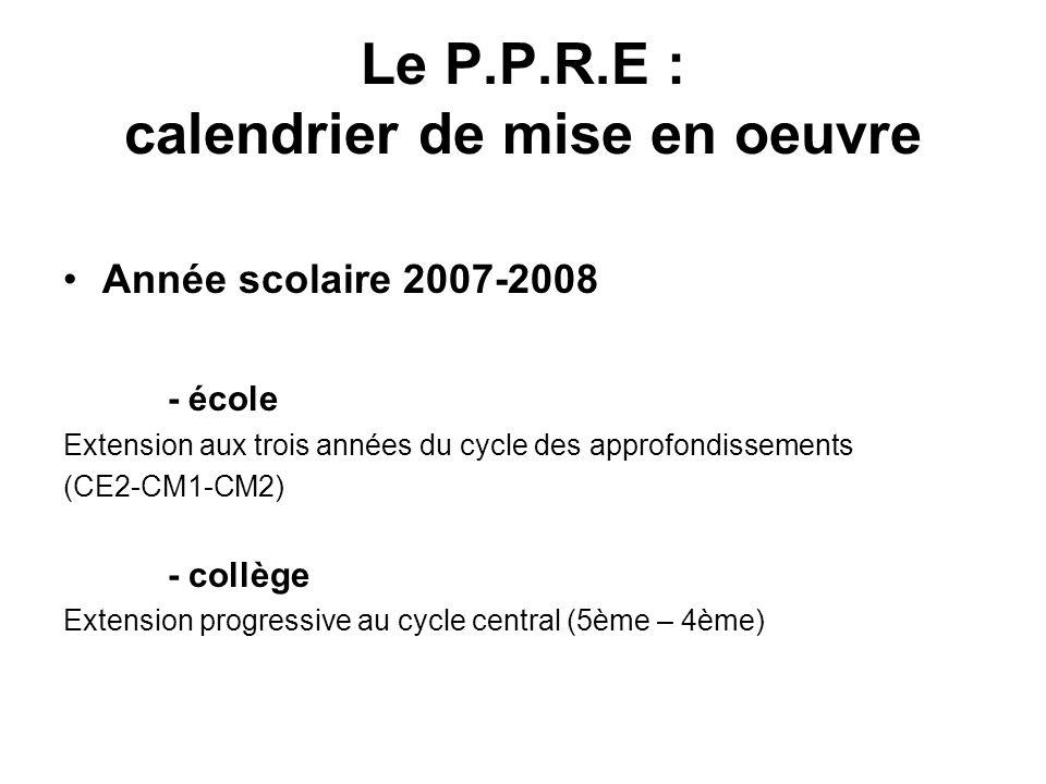 Le P.P.R.E : calendrier de mise en oeuvre Année scolaire 2007-2008 - école Extension aux trois années du cycle des approfondissements (CE2-CM1-CM2) -