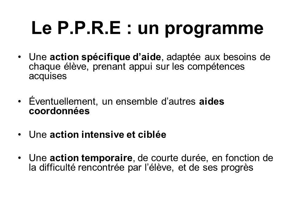 Le P.P.R.E : un programme Une action spécifique daide, adaptée aux besoins de chaque élève, prenant appui sur les compétences acquises Éventuellement,