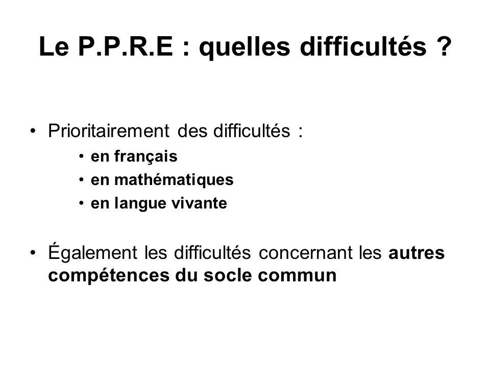 Le P.P.R.E : quelles difficultés ? Prioritairement des difficultés : en français en mathématiques en langue vivante Également les difficultés concerna