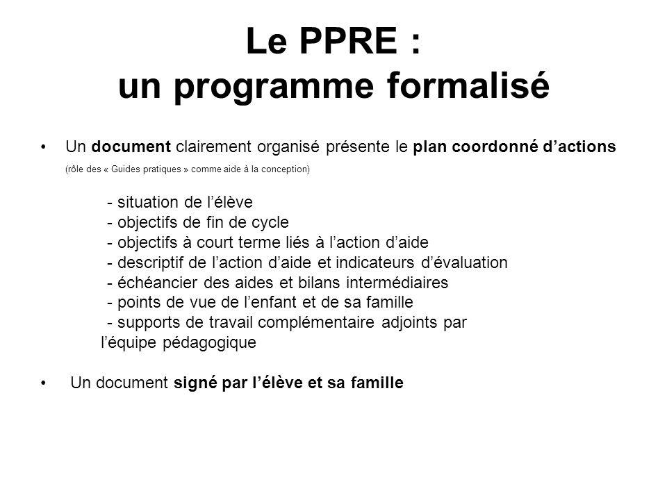 Le PPRE : un programme formalisé Un document clairement organisé présente le plan coordonné dactions (rôle des « Guides pratiques » comme aide à la co