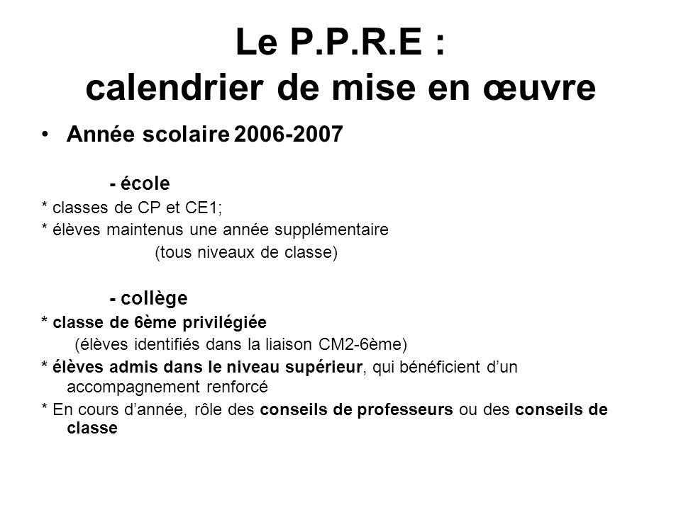 Le P.P.R.E : calendrier de mise en oeuvre Année scolaire 2007-2008 - école Extension aux trois années du cycle des approfondissements (CE2-CM1-CM2) - collège Extension progressive au cycle central (5ème – 4ème)
