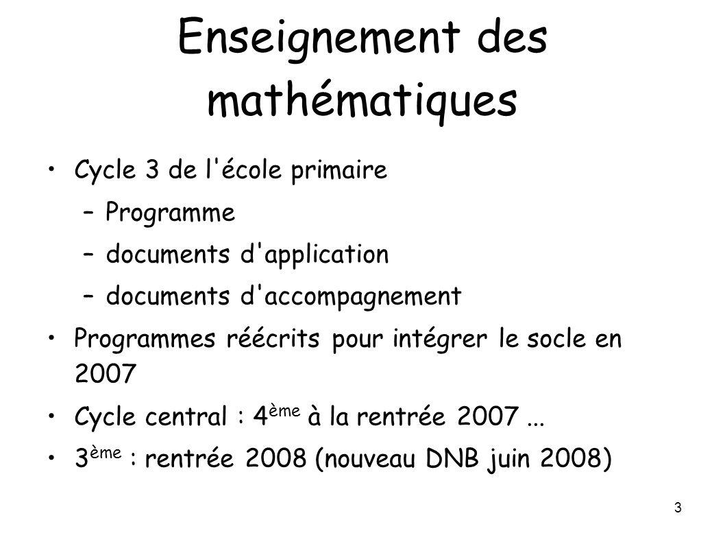 3 Enseignement des mathématiques Cycle 3 de l'école primaire –Programme –documents d'application –documents d'accompagnement Programmes réécrits pour