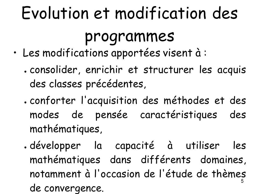 5 Evolution et modification des programmes Les modifications apportées visent à : consolider, enrichir et structurer les acquis des classes précédente