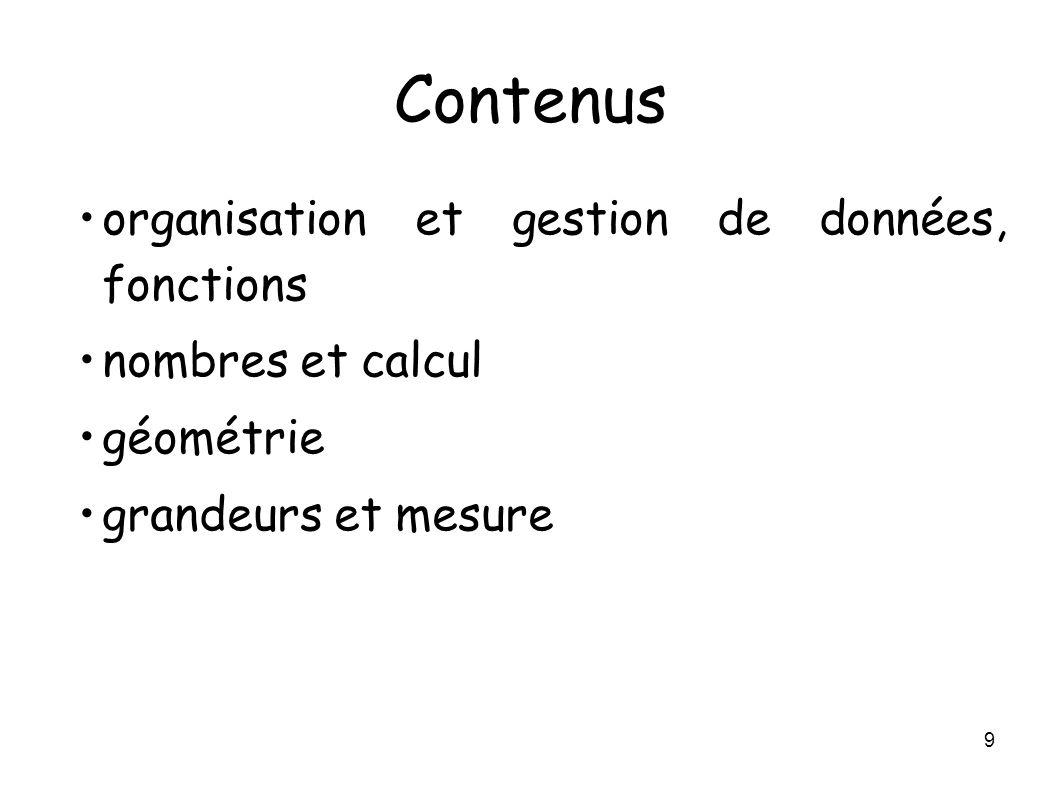 9 Contenus organisation et gestion de données, fonctions nombres et calcul géométrie grandeurs et mesure