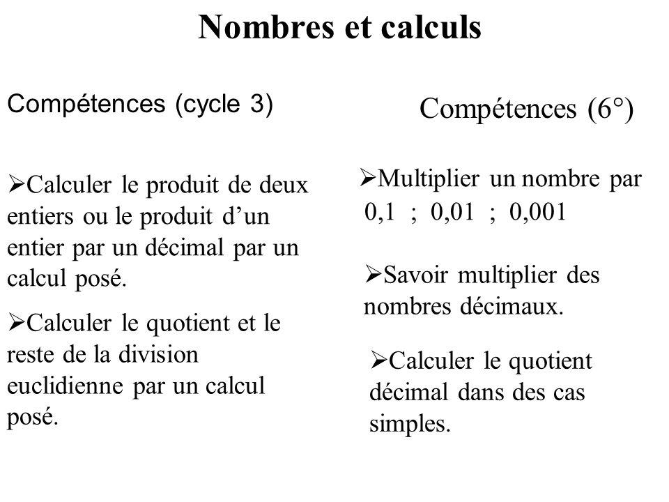 Compétences (cycle 3) Compétences (6°) Calculer le produit de deux entiers ou le produit dun entier par un décimal par un calcul posé. Calculer le quo