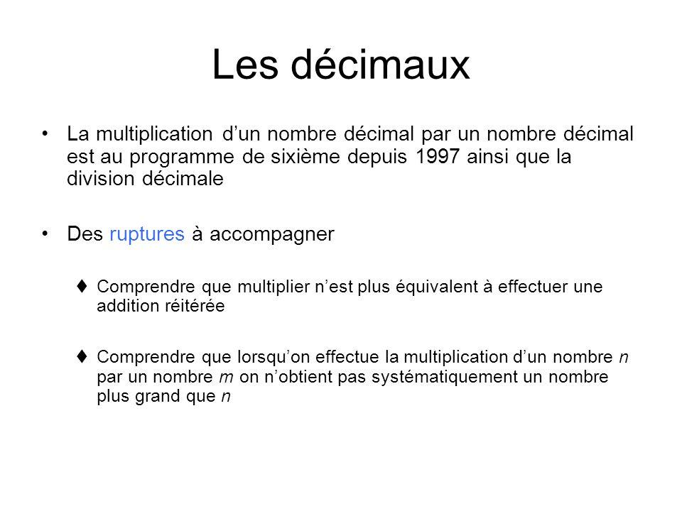 Les décimaux La multiplication dun nombre décimal par un nombre décimal est au programme de sixième depuis 1997 ainsi que la division décimale Des rup