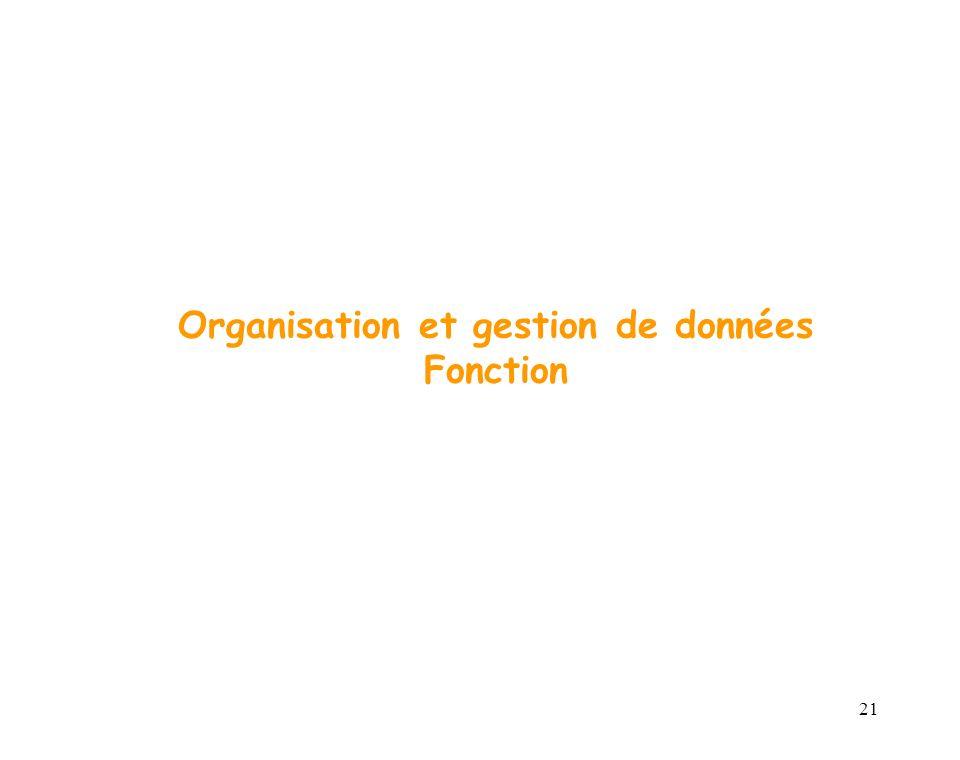 21 Organisation et gestion de données Fonction