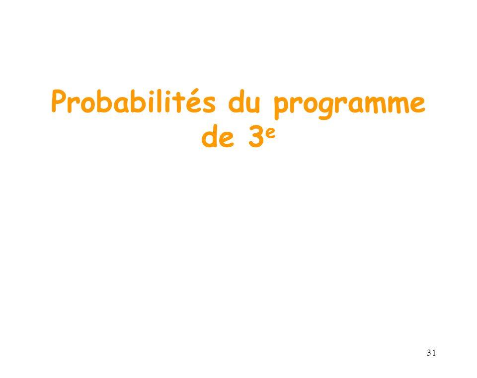 31 Probabilités du programme de 3 e